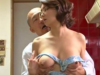 BravoTeens Video - Big Titted Mature In Glasses Sucks An Old Guy's Dick