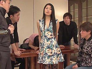 BravoTube Video - Wild Brunette Japanese Cutie Having Her First Gangbang Bukkake