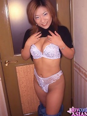 Busty Japanese amateur spreading her legs and pussy in hotel