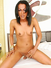 Classy tranny Fabia shows off her welcoming ass and stiff cock