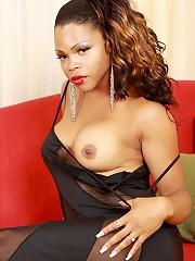 Horny black tgirl with a big black cock!