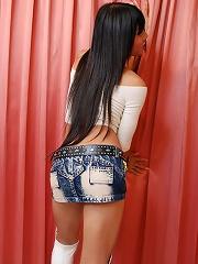 Ladyboy in miniskirt sucks big cock