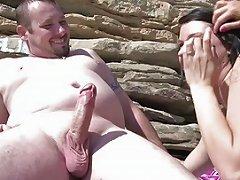 XHamster Video - Brunette Fucked On The Beach By Strangers Free Porn 2b