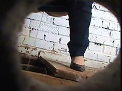 Spying after pissing babe in dirty country toilet