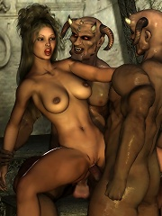 Fiery 3D dickgirl getting fingered