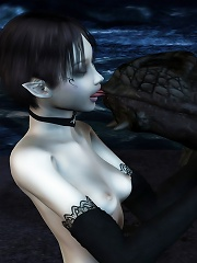 Pretty 3D Brunette with succulent breasts blowing 3D master